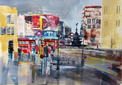 Modern Artist Nagib KARSAN - Buses and Billboards, Piccadilly Circus