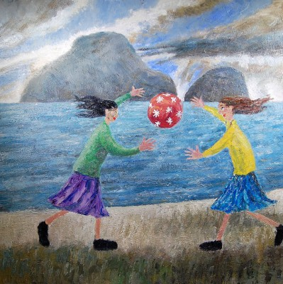 Modern Artist Paul ROBINSON - Two Ladies Playing Ball on the Beach