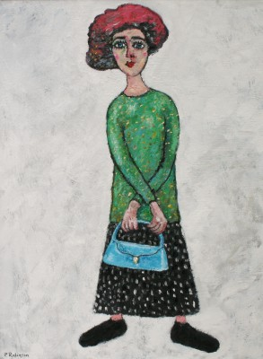 Modern Artist Paul ROBINSON - Lady with Blue Bag and Red Hat Waiting