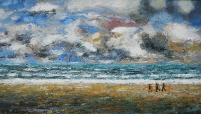 Modern Artist Paul ROBINSON - Three Figures on an Empty Beach