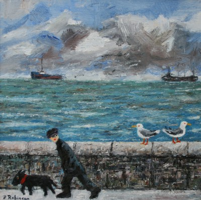 Modern Artist Paul ROBINSON - Man Walking with Dog and Two Seagulls