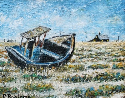 Modern Artist Paul ROBINSON - The Abandoned Boat, Dungeness