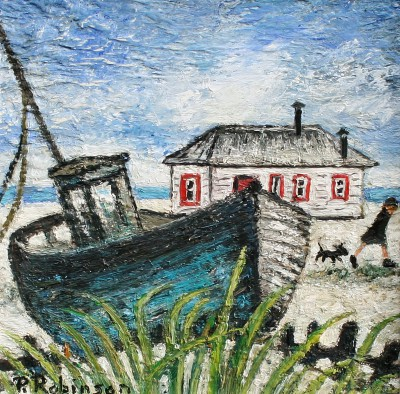 Modern Artist Paul ROBINSON - Off to Catch the Bus, Dungeness