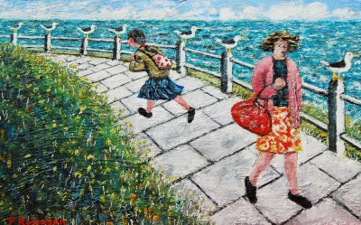 Modern Artist Paul ROBINSON - Two Ladies and Seagulls