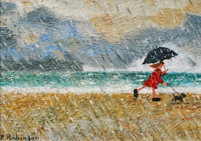 Modern Artist Paul ROBINSON - A Stroll in the Rain