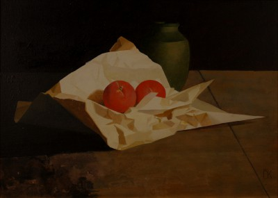 Peter KELLY - Red Fruit and Green Vase