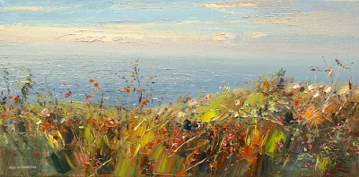 Monbretia by the Sea   painting by artist Rex PRESTON