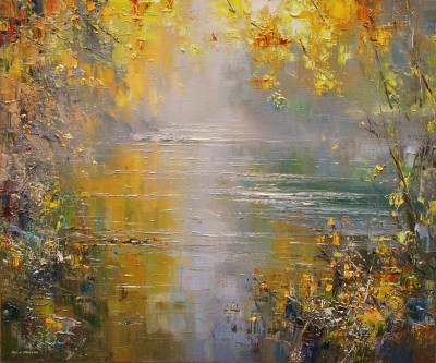 Rex PRESTON - Autumn Leaves, River Derwent