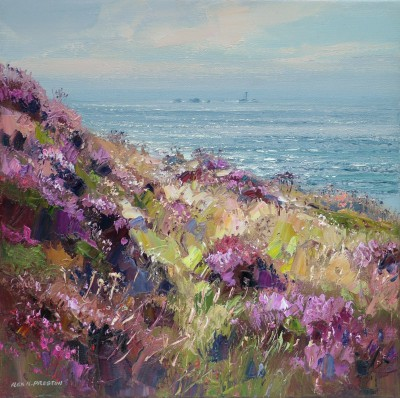 Rex PRESTON, contemporary artist&nbsp;-&nbsp;<span style='color:red;font-size: 200%'>&#8226;</span> Clifftop Heather, Longships Lighthouse