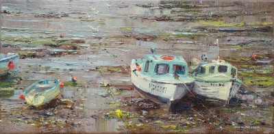 Modern Artist Rex PRESTON - Dawn Mist and Miss Amy, Newlyn