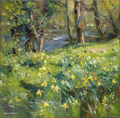 Rex PRESTON, contemporary artist&nbsp;-&nbsp;<span style='color:red;font-size: 200%'>&#8226;</span> Daffodils by the River Brathay