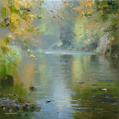 Modern Artist Rex PRESTON - Reflections in the River Wye, Chee Dale