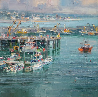 Modern Artist Rex PRESTON - Newlyn Harbour