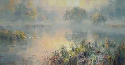 Sunrise, River Brathay, near Elterwater painting by artist Rex PRESTON