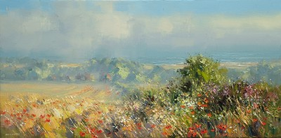 Rex PRESTON - Poppies and Daisies, North Norfolk Coast