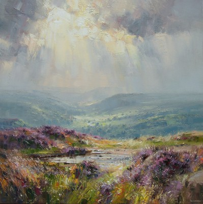 Modern Artist Rex PRESTON - Sunlight over Derwent Valley