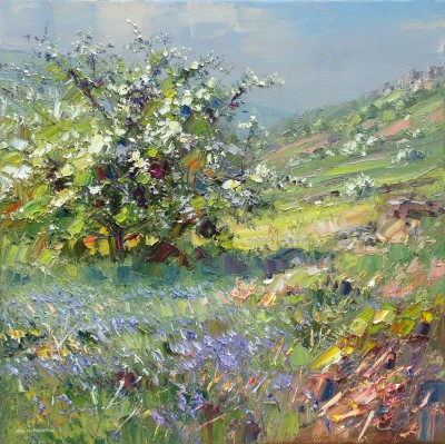 Modern Artist Rex PRESTON - Mayblossom and Bluebells, Curbar Edge, Derbyshire