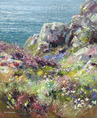 Modern Artist Rex PRESTON - Spring Flowers, Treen Cliffs
