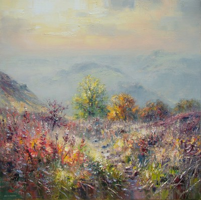 Modern Artist Rex PRESTON - Late November Afternoon, Curbar Gap