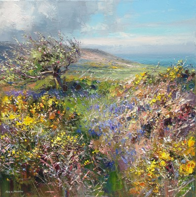 Rex PRESTON, contemporary artist - <span style='color:red;font-size: 200%'>•</span> Springtime, Trevelgan Hill, near St. Ives