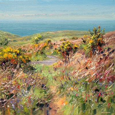 Modern Artist Rex PRESTON - Clear Spring Afternoon, Trevelgan Hill, Cornwall