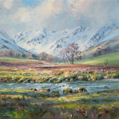 Modern Artist Rex PRESTON - March Sunlight, Grisedale Beck, Lake District