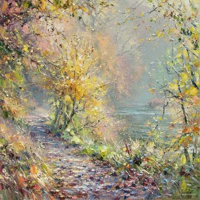 Modern Artist Rex PRESTON - November Sunlight, Dovedale