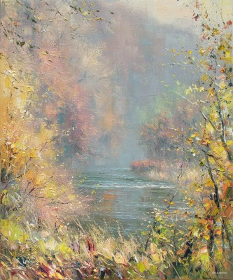 Modern Artist Rex PRESTON - Autumn in Dovedale