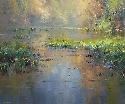 Rex PRESTON - Marsh Marigolds in the Late Afternoon Light