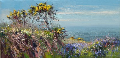 Cornish Gorse and Bluebells painting by artist Rex PRESTON