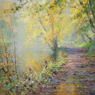 Modern Artist Rex PRESTON - Autumn Morning, Miller's Dale