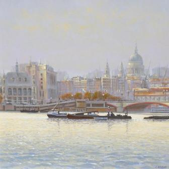 Modern Artist Robert CRISP - Thames at Dawn