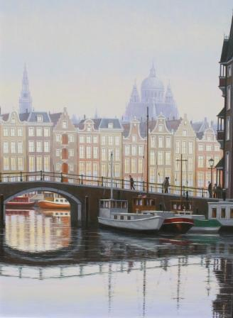 Modern Artist Robert CRISP - Winter Light, Amsterdam
