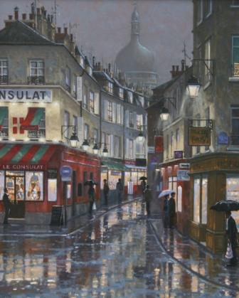 Modern Artist Robert CRISP - After the Rain, Montmartre