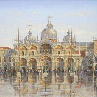 Modern Artist Robert CRISP - After the Rain, Basilica St Marks, Venice