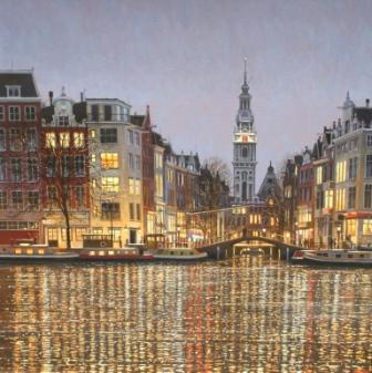 Modern Artist Robert CRISP - Amsterdam at Night