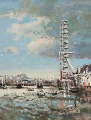Robert E WELLS - The London Eye from Westminster Bridge