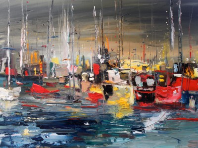 Marina Reflections painting by artist Rosanne BARR