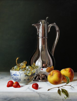 Modern Artist Roy HODRIEN - Silver Flagon with Peaches and Strawberries