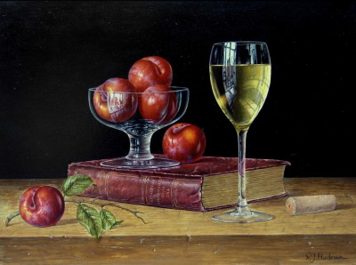 Modern Artist Roy HODRIEN - White Wine with Plums and Book