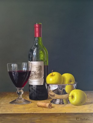 Chateau Lafite with Apples in a Silver Bowl