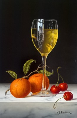 Modern Artist Roy HODRIEN - White Wine with Mandarins and Cherries