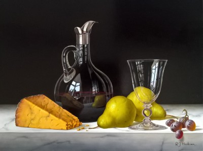 Modern Artist Roy HODRIEN - Red Wine Decanter with Cheese and Pears