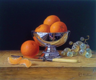 Modern Artist Roy HODRIEN - Mandarins in a silver bowl with grapes