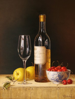 Modern Artist Roy HODRIEN - Chateau d'Yquem with apples and cherries