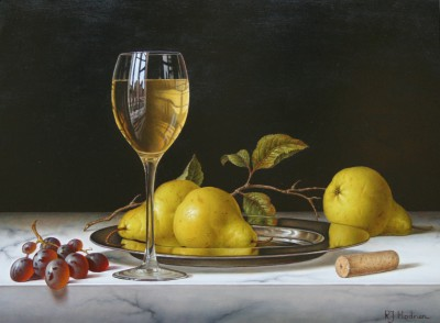 Modern Artist Roy HODRIEN - White Wine with pears and grapes on a silver plate
