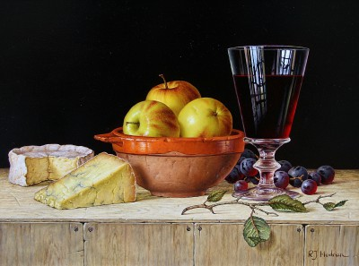 Roy HODRIEN - Apples in a rustic bowl with cheeses