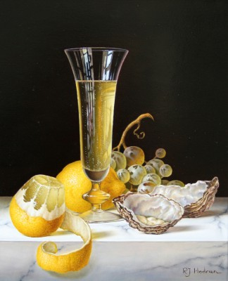 Modern Artist Roy HODRIEN - Champagne with Oysters and Peeled Lemon