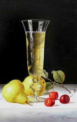 Modern Artist Roy HODRIEN - Champagne with Pears and Cherries