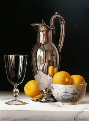 Modern Artist Roy HODRIEN - Silver Flagon with Lemons in Chinese Bowl